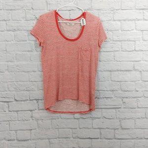 Madewell | Red & White Stripe Linen Short Sleeve